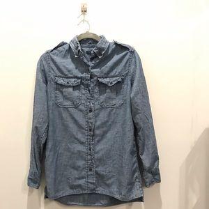 Women's Blue Chambray Gap Shirt-Size S